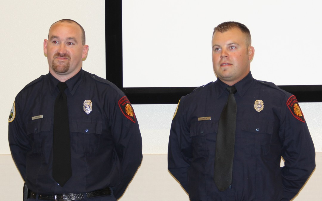 Marler and Larson receive EMT-1 Certification