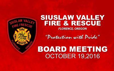 Board Meeting – Oct 19, 2016