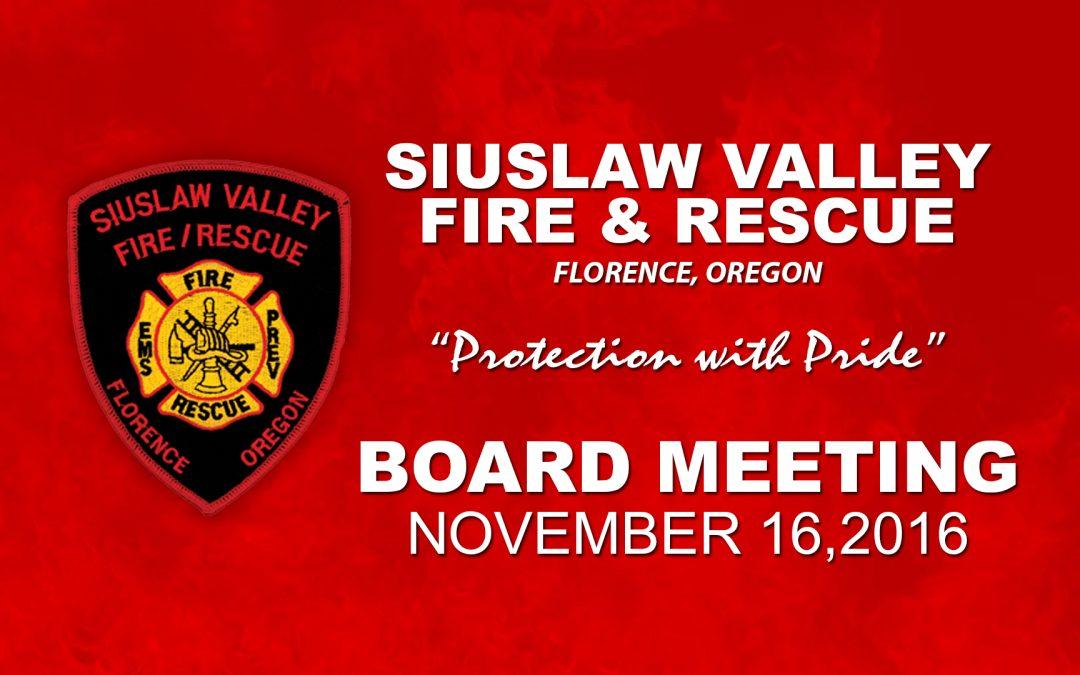 Board Meeting – Nov 16, 2016