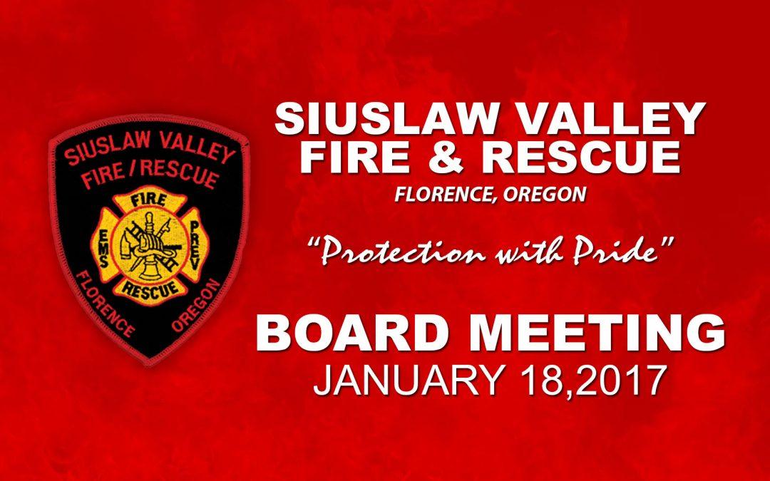 Board Meeting – Jan 18, 2017