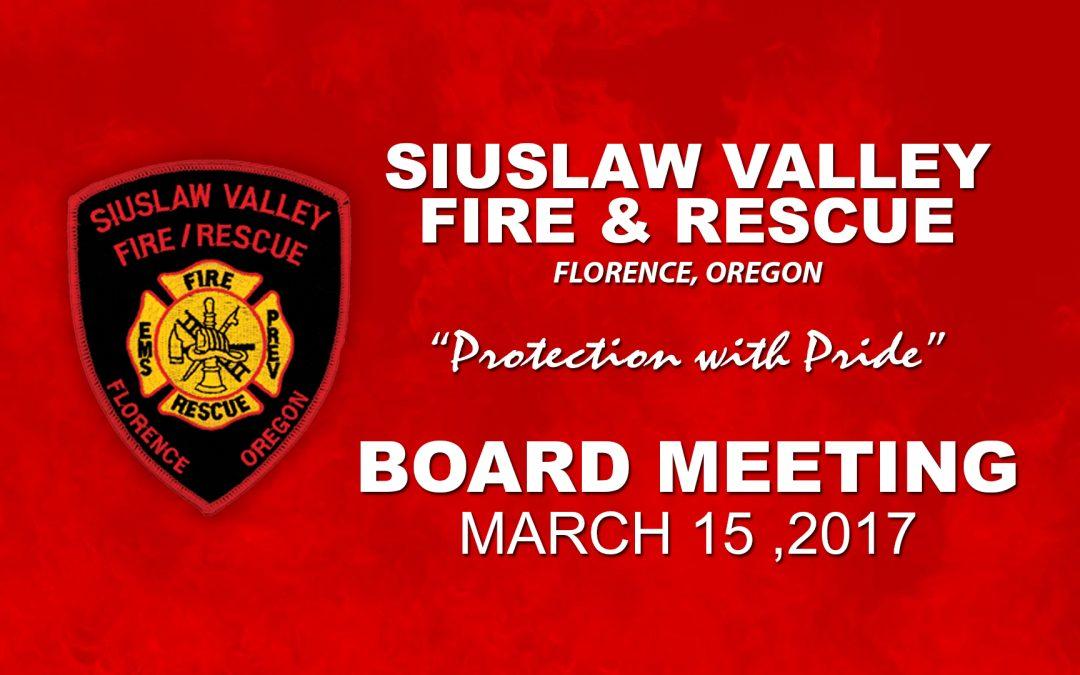 Board Meeting – Mar 15, 2017